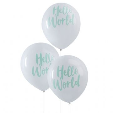 Hello World Balloons - pack of 10